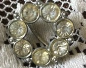 Vintage Scarf Ring Large Clear Sparkling Rhinestones on Silver Tone or Lapel Round Brooch 1950s 1960s
