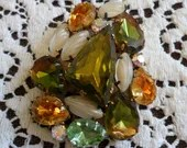 Large Vintage Colorful Multi-Faceted Cut Glass Crystal & Rhinestones Gold Tone Pin Brooch 1940s Amber Topaz Green Aqua Blue Clear Stunning!