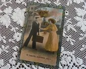 Antique Edwardian Color Photo Postcard 1900s Woman & Sailor Man Meeting at Harbor Ship I'll Heartily Welcome You Vintage Theochrom Patriotic