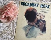 Vintage Antique 1920 BROADWAY ROSE Sheet Music GOLDBECK Art Deco Cover Art 1920s Words by Eugene West Music by Martin Fried Otis Spencer