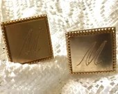 Vintage Cuff Links Letter M Monogram Name Initial Gold Tone Cufflinks Signed PIONEER USA 1950s Mens Shirt Accessory Patent Pending