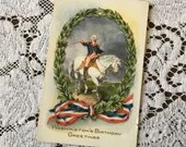 Antique Vintage 1910 Washington's Birthday Embossed Greeting Postcard 1910s George Washington Riding his Horse Military Patriotic History