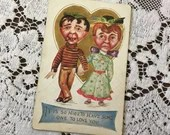 Antique Vintage 1912 It Is So Nice To Have Someone To Love You Valentine Edwardian Embossed Greetings Postcard 1910s Gold Heart Caricature