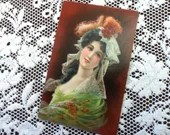 Antique 1909 Color Art Postcard Post Card 1900s Beautiful Edwardian Woman Fashions in Lace Tulle & Feathers Printed in Germany Stunning!