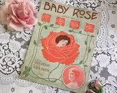 Antique Vintage 1911 BABY ROSE Novelty Song Sheet Music 1910s Edwardian Cover Art Maud Lambert Words by Louis Weslyn Music George Christie