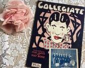 Vintage Antique 1925 COLLEGIATE Sheet Music Art Deco Cover Art College Boys 1920s Words & Music Moe Jaffe and Nat Bonx Photo The Radiolians