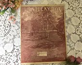 Antique Vintage 1912 Sheet Music KENTUCKY DAYS Beautiful Edwardian Scene Cover Art 1910s Words by Jack Mahoney Music by Percy Wenrich