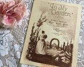 Vintage Antique 1929 IN MY GARDEN Sheet Music by Isabelle Firestone Southern Belle Cover Art 20s Song for Voice Piano Duet for Soprano Alto