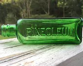 Antique 1920s 30s Embossed EMERALD GREEN Glass PINEOLEUM Apothecary Bottle 5 Inches tall Collectible Chemist Vintage Decor Owens Illinois Co