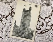 Antique 1904 Vintage Black & White Illustrated Postcard Undivided Post Card  PARK ROW BUILDING New York City Scene
