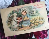Antique Vintage Color Greeting Postcard A JOYOUS EASTERTIDE c1906 Easter Baby Chicks Eggs Basket Bunny Little Girl 1900s Edwardian Victorian
