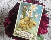 Antique Vintage Embossed Color Greeting Postcard Best Wishes for A HAPPY EASTER c1908 Edwardian 2 Easter Baby Chicks Lilies 1900s