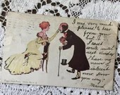 Antique 1906 Edwardian Undivided Color Art Postcard Post Card 1900s Peggy From Paris lady and Gentleman in Formal Dress Playful Interaction