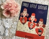 Vintage 1942 Three Little Sisters Sheet Music WWII Solder Sailor Marine Red White Blue Patriotic Cover Art 1940s by Irving Taylor Vic Mizzy