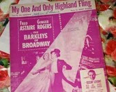 Vintage 1949 My One and Only Highland Fling The Barkleys of Broadway Sheet Music Fred Astaire Ginger Rogers Pink Cover Art