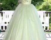 Vintage 1950s 60s Green Chiffon over Tulle Prom Party Evening Gown Dress Satin Roses Stunning!