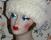 Vintage 1940s 1950s Ivory Ruffled Lace Cloche Bucket Dress Hat Roberta Bernays Original
