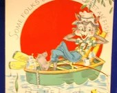 Vintage Get Well Soon Wish Greeting Card Cartoon Humorous Fishing Boat Some Folks Worms Sun Drink 1940s 1950's Unused