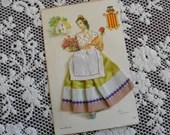 Vintage Silk Embroidered Fabric Clothing Postcard Artist Elsi Gumier Valencia Spain No 14 Beautiful Spanish National Regional Costume 1950s