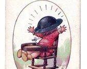 Vintage Comic Postcard World War I Military Baby with Doughboy Helmet Tin Hat Tempest 1917