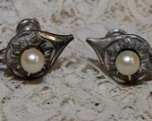 Vintage Sterling Silver Diamond Cut Glass Pearl Screw Back Tear Drop Earrings 1950s  Marked Marvel