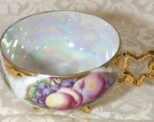 Vintage Fine China Footed Opalescent Cabinet Tea Cup Peaches Grapes & Gold Trim 1950s