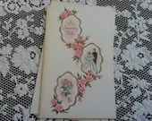 Vintage Happy Anniversary Wish Embossed Greeting Card & Envelope Wedding Day Bride Groom Bells Pink Roses Gold Sparkle 1940s 1950s Unused