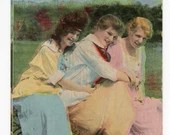 Antique Edwardian Colorized Photo Postcard Greeting Card 1900s Cute Girls Friends Girlfriends Young Women Hugging I Think You'd Like It Here