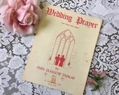 Vintage 1947 WEDDING PRAYER Sheet MUSIC For Voice and Piano by Fern Glasgow Dunlap Red & White Church Cover Art 1940s Schirmer Publisher