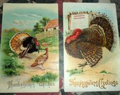 2 Antique Victorian Embossed Thanksgiving Greetings Wishes Postcards with Turkeys Glitter Gold 1910 1911