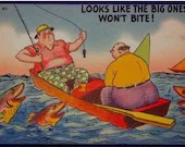 Vintage Comic Cartoon Linen Postcard Boat Fishing Tichnor Bros 633 Big Ones Won't Bite!