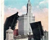 Antique Vintage Color Photo Postcard Excursion Boat Passing through New Michigan Avenue Link Bridge Chicago Illinois Wrigley Building 1924