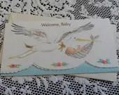 Vintage Welcome Baby Embossed Die-Cut Greeting Card & Envelope Stork bringing Baby in a bundle 1940s 1950s Unused