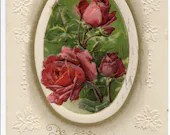 Antique Embossed Holly A Happy New Year Greetings Postcard Beautiful Pink Red Roses & Buds in Oval Frame Gold Edge 1900s 1910 by John Winsch