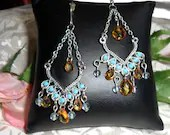 Vintage Boho Gypsy Hippy Dangle Chandelier Drop Pierced Earrings Silver Tone Amber Glass Blue Turquoise Beads Ethnic Tribal