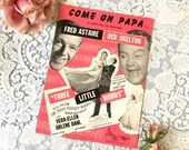 Vintage 1946 Come On Papa Sheet Music from The MGM Movie Three Little Words with Fred Astaire & Red Skelton Cover Art Pink Black White 1940s