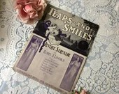 Vintage Antique 1912 Tears and Smiles Sheet Music Reverie Serenade By Harry J Lincoln Art Deco Grecian Cover Art Purple Black & White