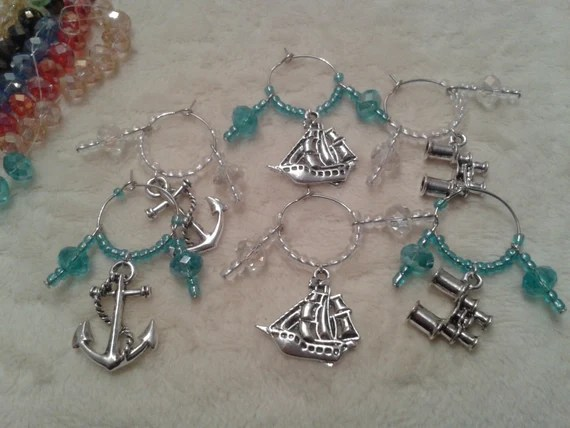 Boxed set of 6 Nautical Wine Glass Charms