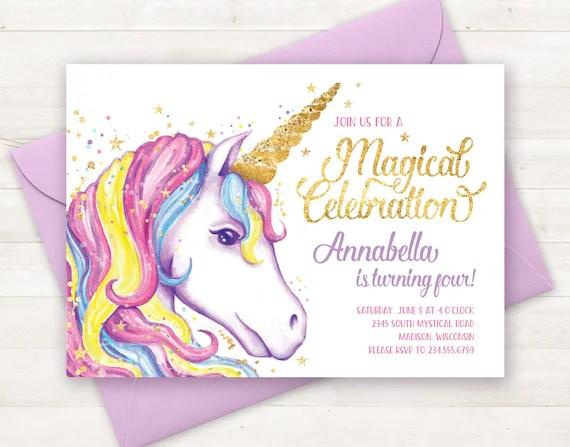 unicorn invitation unicorn birthday invitation unicorn party invite unicorn birthday party invitation printable unicorn invite watercolor