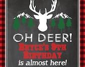 Rustic Vintage Oh Deer Boy Girl Invitation Deer Head Stag Antlers Birthday Party Bridal Baby Shower Buffalo Plaid ONEderland Digital File