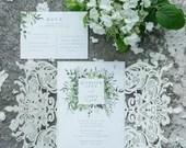 Elegant Ivory Shimmer Laser Cut Lace Petal Fold Wedding Invitations RSVP Cards and Envelopes Green Greenery Botanical
