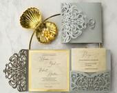 Elegant Silver Shimmer Laser Cut Lace Pocket Fold Wedding Invitation RSVP Card and Envelope Grey Gray Mirror Gold Backer