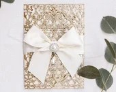 Elegant Champagne Glitter Laser Cut Lace Gate Card Pocket Fold For Wedding Invitations and RSVP Cards Rose Gold Silver