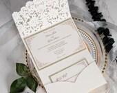 Classic Ivory Shimmer Laser Cut Lace Pocket Fold Wedding Invitation RSVP Card Envelopes Glitter Gold Beige White Baby Bridal Shower Birthday
