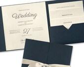 Modern Elegance Pocket Fold Wedding Invitation Suite Foil Stamped RSVP Card Envelope Multiple Colors Navy Blue Gold Shimmer Ivory Burgundy