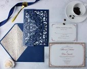 Glittering Navy Laser Cut Pocket Fold Envelope Wedding Invitation RSVP Champagne Gold Glitter Mat Bridal Shower Baby Birthday Blue Ivory