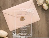 Gorgeous Clear Acrylic Wedding Invitations Blush Pink Floral Botanical Flowers Greenery Boho Lucite Perspex Baby Bridal Shower Birthday