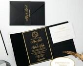 Black Shimmer Pocket Fold Wedding Invitation RSVP Gold Foiled Belly Band Upgraded Envelope Glitter Backer Bridal Shower Baby Quinceanera