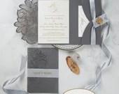 Grey Shimmer Laser Cut Floral Pocket Fold Wedding Invitations RSVP Card Envelopes Dark Gray Gold Glitter Bridal Shower Baby Birthday Folder
