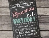 Shabby Chic Vintage Chalkboard Welcome Sign Birthday Party Bridal or Baby Shower Wedding Digital File DIY Printable